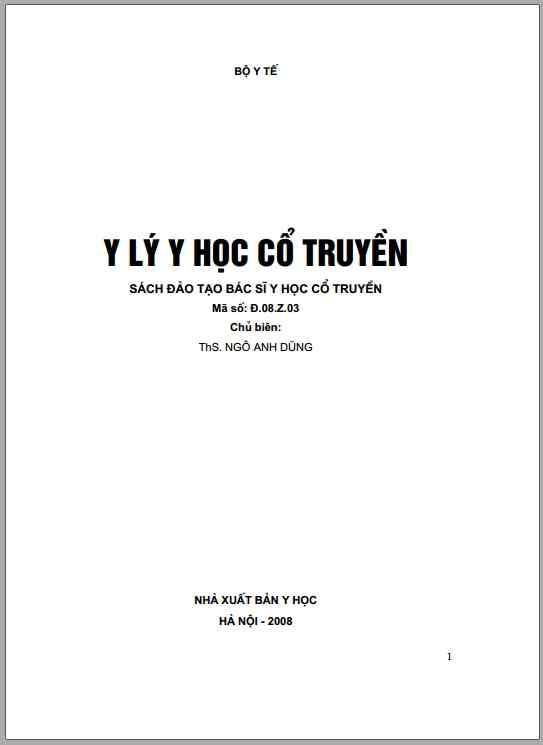 [PDF] Y lý y học cổ truyền (NXB Y HỌC)