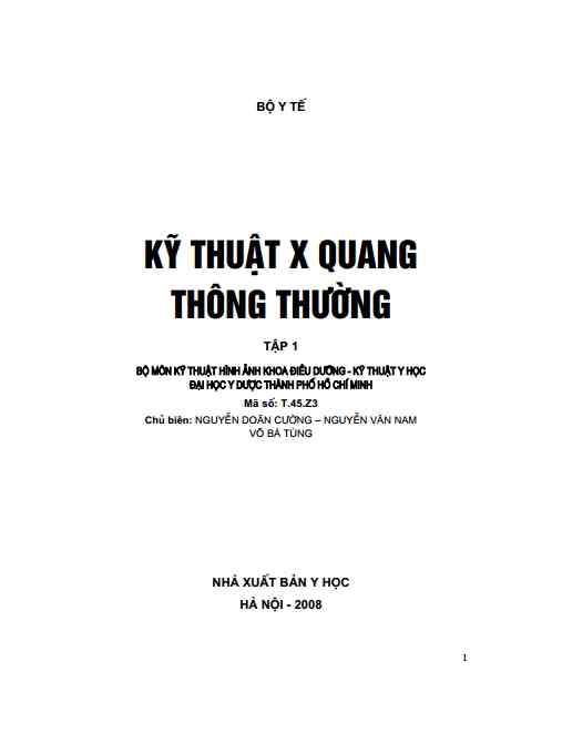 [PDF] Kỹ thuật X – Quang thông thường (NXB Y HỌC)